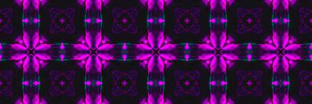 Painted Ceramic Tiles. Tile Square Garden Fluorescent Ornament. Painted Ceramic Tiles Background. Violet Islam Faience Decor. Cyberpunk Iran Фото со стока