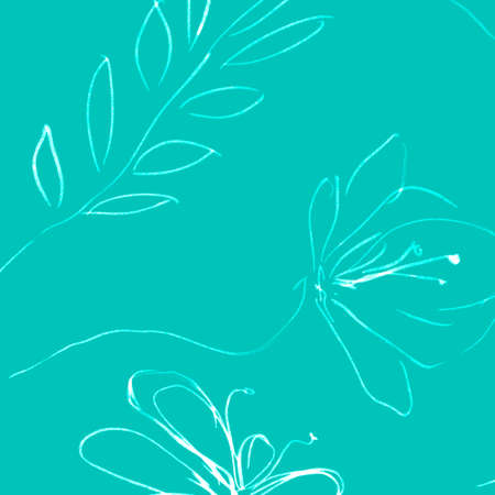 Vintage Hand Drawn Flower. Green Mint Simple Paintings. Hawaii Foliage Surface. Vintage Hand Drawn Flower Background. Paintbrush Doodle Blue Ornament. Foliage