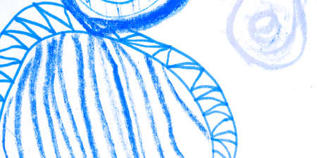 Circles. Ring Marine Grunge Acrylic Design. Technical Fun Chaotic. Retro Confetti Cover. Background Circles. Blue Drawn. Blue. 版權商用圖片