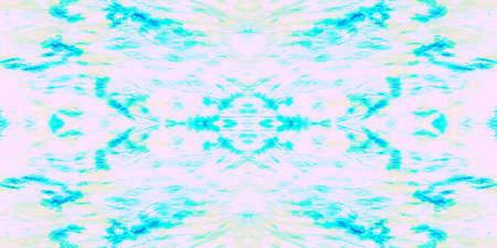 Seamless Pattern Textile Kaleidoscope. Dyed Vivid Sky Art. Seamless Textile Kaleidoscope Pattern. Fresh Sky Ethnic Illustration. Mint Blue Boho Textile. Stock fotó