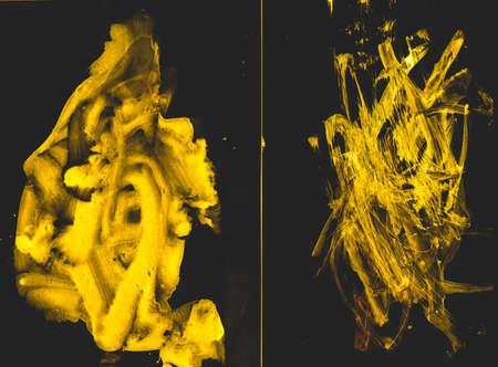 Triangular Design Elements Background. Babyish Yellow Oil Drawing. Triangular Design Elements. Bronze Sketch. Oil Vibrant Painting. Ink Foil