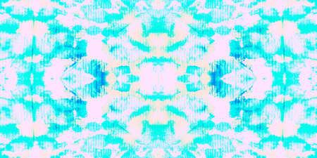 Seamless Pattern Textile Kaleidoscope. Watercolor Turquoise Vivid Texture. Seamless Textile Kaleidoscope Pattern. Pale Sea Aztec Decoration. Wave Summer Zigzag Fabric. Stock fotó