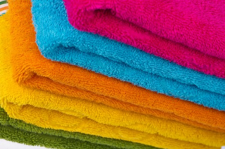 close p: close p image of colorful stacked bathroom towels Stock Photo