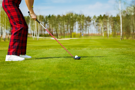 wood grass: portrait of a young female golf player, back view Stock Photo