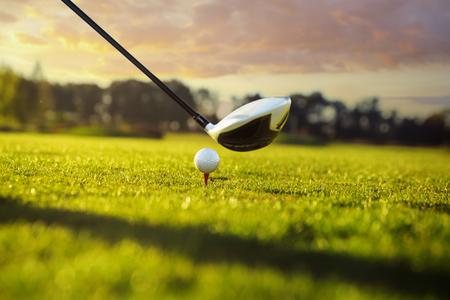 columpio: Pelota de golf en te en frente del conductor