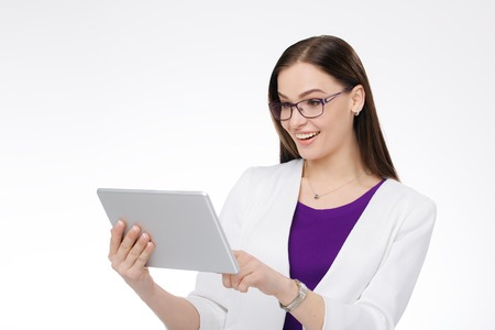beautiful young businesswoman with tablet pc in the hands Stock Photo