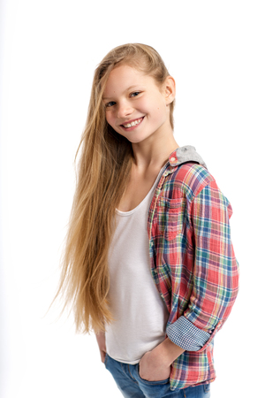 young cheerful teenage girl on white background
