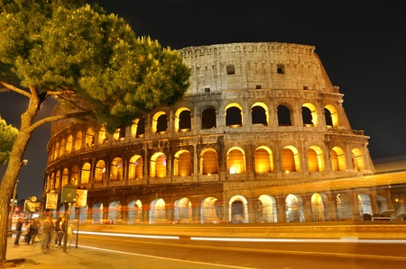 Colosseum at night, Rome, Italy photo