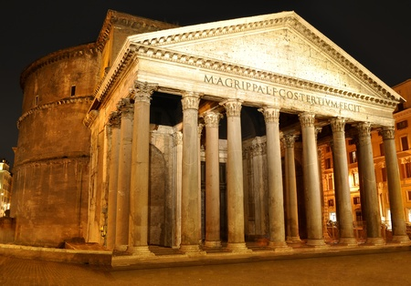 ancient rome: Night view of Pantheon, Rome Stock Photo