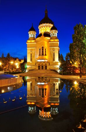 cluj: Night view of Orthodox cathedral from Cluj Napoca, Romania