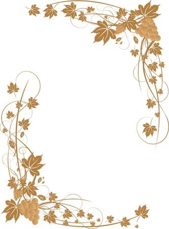 Grapes and leaves frame (illustration) Vector Illustration