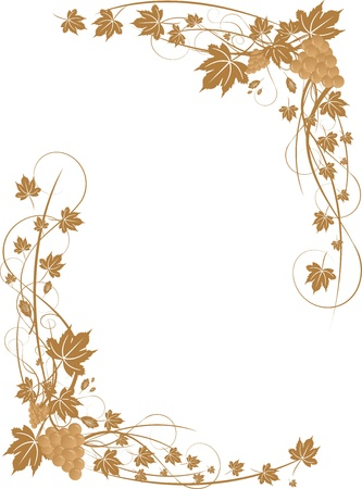Grapes and leaves frame (illustration) Vector