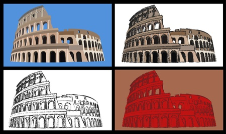 Set of four illustrations of the colisseum Illustration