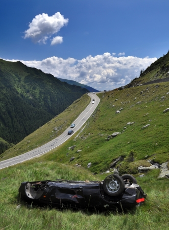 smash: Car crash on a high mountain road Stock Photo