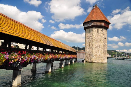 Chapel Bridge tower in Luzern, Switzerland