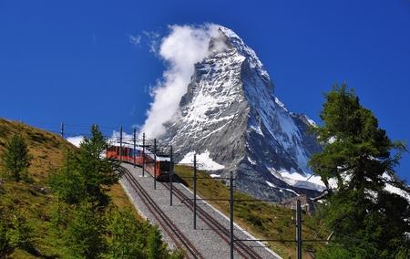 zermatt: Mountain train in front of Matterhorn peak