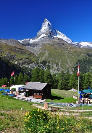 matterhorn: Matterhorn peak and a chalet in Switzerland