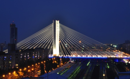 Basarab bridge at dusk, Bucharest, Romania