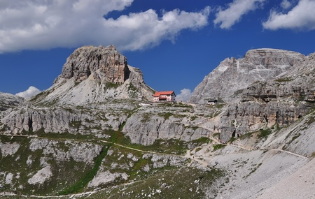 refuge: Locatelli chalet, Dolomites Mountains, Italy Stock Photo