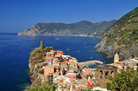 mediterranean houses: Village of Vernazza, in Cinque Terre, Italy Stock Photo