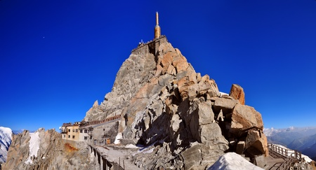 mont: The Aiguille du Midi (3,842 m) is a mountain in the Mont Blanc massif in the French Alps