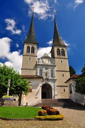 high priest: Hofkirche cathedral, known as the Church of St  Leodegar, Luzern, Switzerland Stock Photo