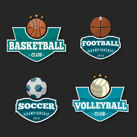 disciplines: Four sport disciplines, vector set badges.
