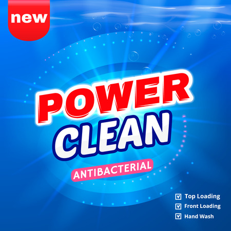 Detergent packaging vector template design. Power foam bathroom cleaner. Vector illustration.