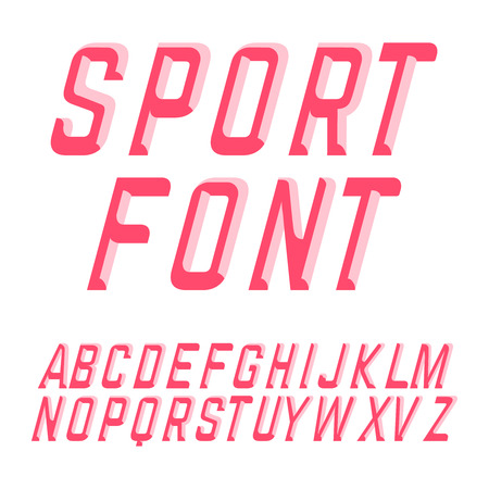 beveled: Beveled sport style font. Vector illustration typeface. Illustration
