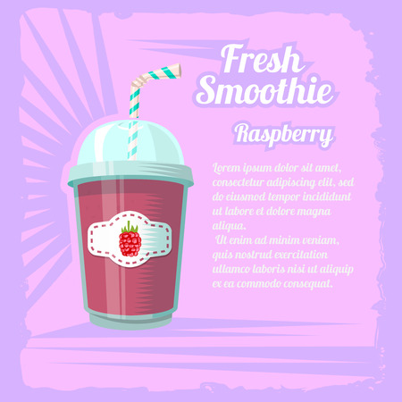 raspberry pink: Illustration of smoothie cup with raspberry on a pink background.