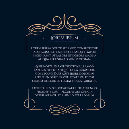 Frontera diseños para tarjetas de felicitación. Diseño de la plantilla para la invitación, etiquetas, la escritura poema. Concepto de la vendimia. Ilustración de vector