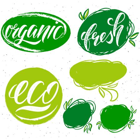 Vector collection of eco, organic, fresh labels for organic and natural product.