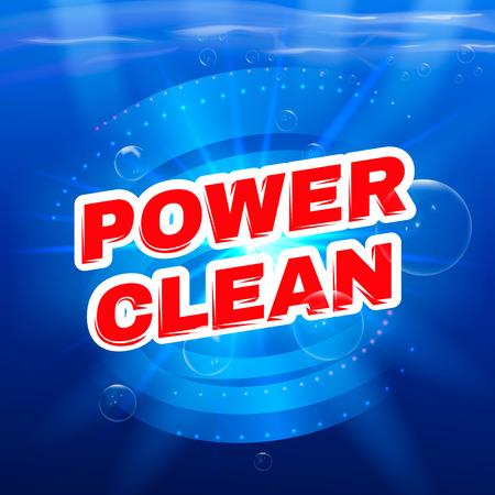 whirlpool: Detergent packaging vector template design. Power foam bathroom cleaner. Vector illustration.