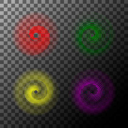 Set of spiral motion elements, red,green,yellow, pink isolated objects. Vector illustration.