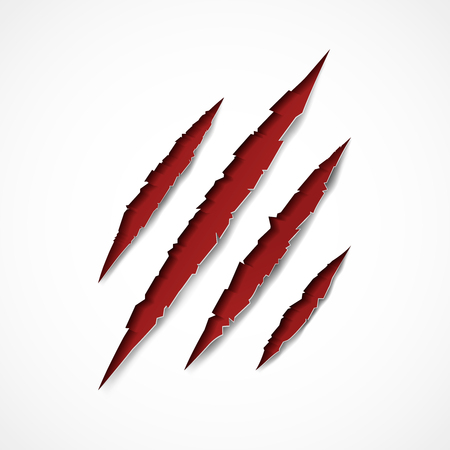 Claw scratches on gray background. Vector illustration.  イラスト・ベクター素材
