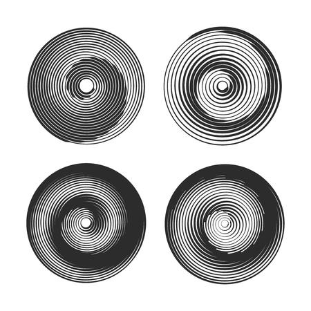 tweak: Set of spiral motion elements, black isolated objects. Vector illustration.