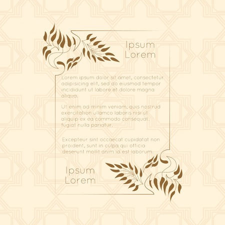 poem: Border designs for greeting cards. Template design for invitation, labels, poem writing. Vintage concept. Illustration