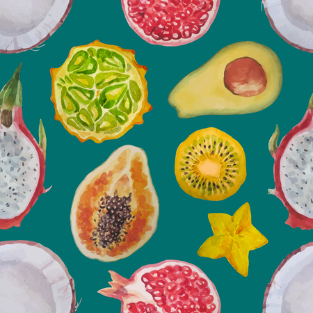 Exotic fruits:kiwi, coconut, papaya, pomegranate, dragon eye, carambola, kivano, avacado. Watercolor seamless pattern.