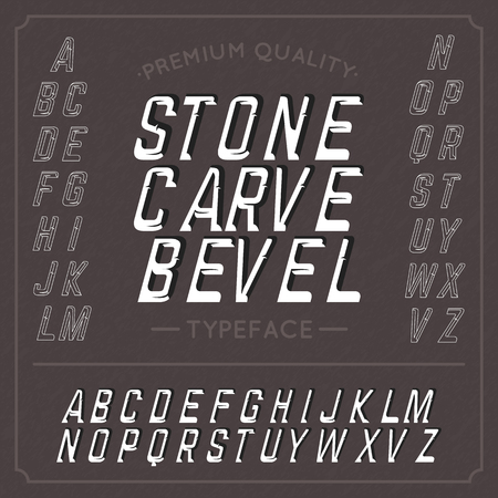 bevel: Hand crafted font Stone Carve Bevel. Handcrafted font.