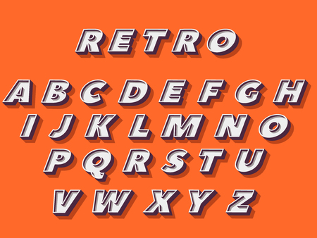 Retro type font, vintage typography. Vector illustration. Illustration