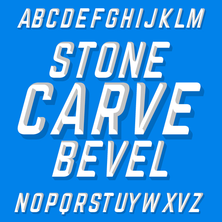 bevel: Hand crafted font Stone Carve Bevel. Chiseled block letters on the blue background. Illustration