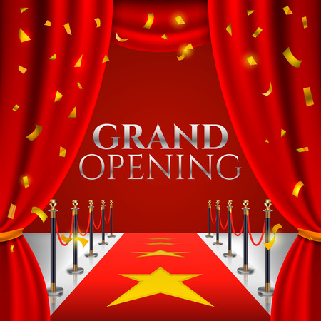 Grand opening invitation card with red theater curtains and velvet carpet.