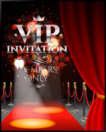 VIP invitation inscriptions with red theater curtains and velvet carpet. 3d illustration. Reklamní fotografie - 69876926