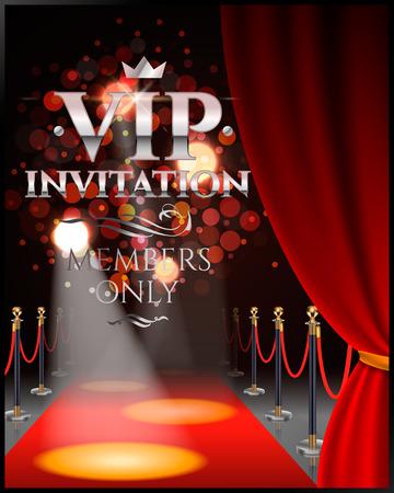 VIP-uitnodigingen met rode theatergordijnen en fluwelen tapijt. 3d illustratie.