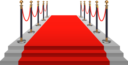Red carpet with gold stanchions. Vector illustration. Illustration