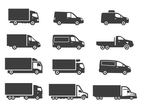 Set of different delivery trucks. Distribution and logistic cliparts. Vecteurs