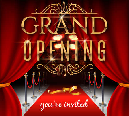 Grand opening invitation card with red theater curtains and velvet carpet