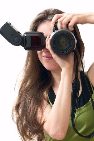 Girl with camera, self-portrait Stock Photo