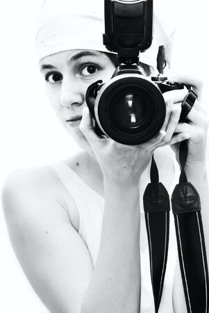 Young girl with camera photo