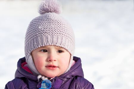 Little girl outdoor in winter Stock Photo - 7558734